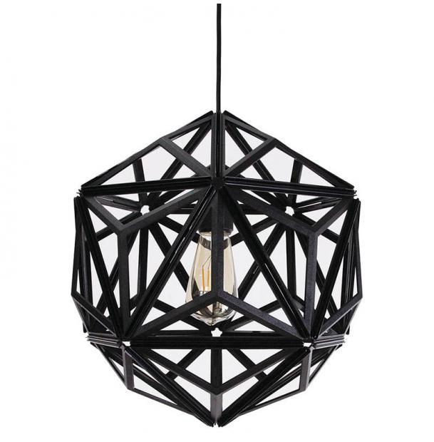 Светильник потолочный Qualy Icosa Wireframe, черный