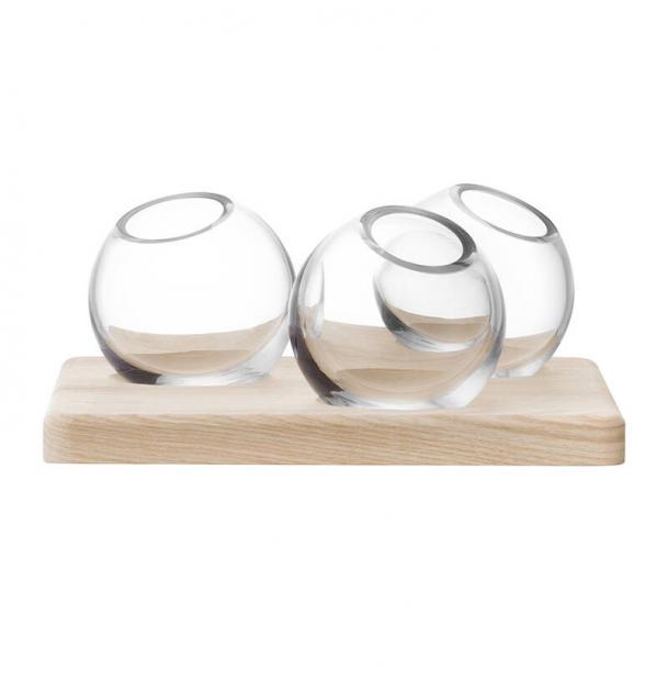 Трио ваз на подставке LSA International Axis 8 см прозрачные