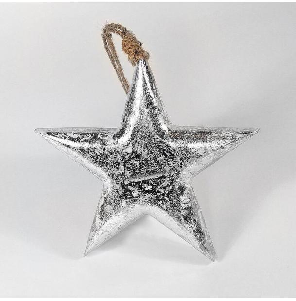 Украшение для интерьера EnjoyMe Snow Star, en_ny0014, серебряный, 15 х 15 х 2,5 см