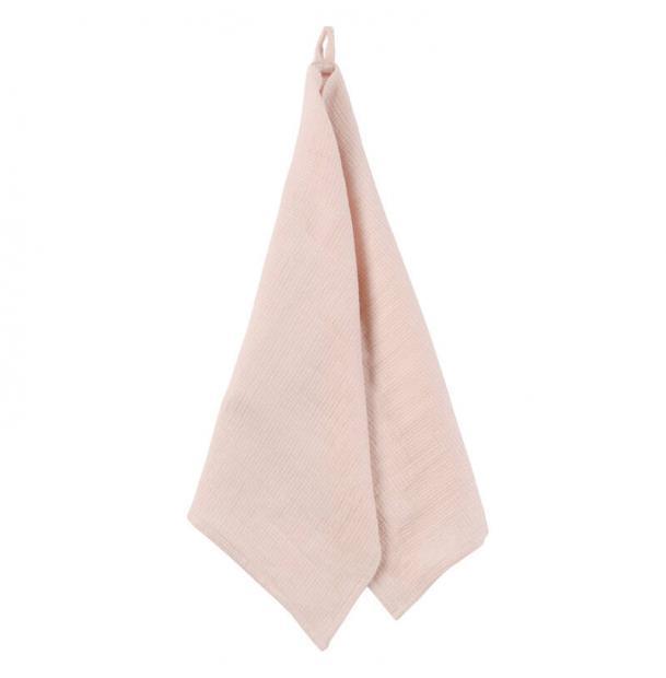 Вафельное кухонное полотенце Tkano из умягченного льна пыльная роза из коллекции Essential 47x70