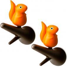 Вешалки настенные Qualy Squirel 2 шт. коричневые-оранжевые