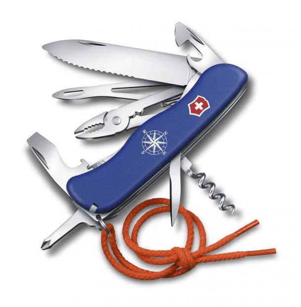 Нож Victorinox Skipper, 111 мм, 17 функций, с фиксатором лезвия, чехлом и шнурком, синий