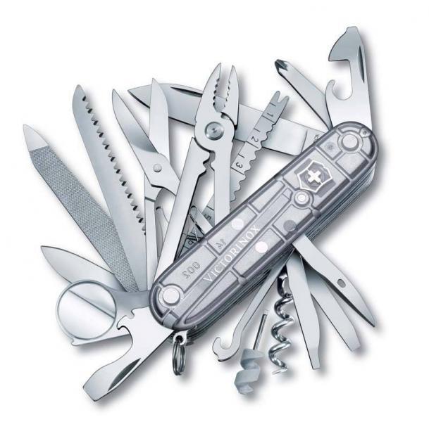 Нож Victorinox SwissChamp, 91 мм, 33 функции, полупрозрачный серебристый