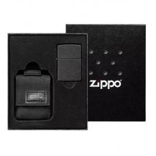 Зажигалка Black Crackle в подарочной упаковке + черный нейлоновый чехол 49402