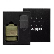 Зажигалка Black Crackle в подарочной упаковке + зеленый нейлоновый чехол 49400