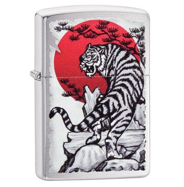 Зажигалка ZIPPO Asian Tiger Brushed Chrome