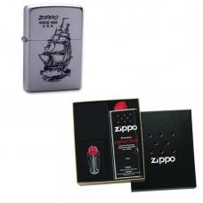Зажигалка ZIPPO Boat-ZIPPO Satin Chrome в подарочной упаковке + топливо и кремни