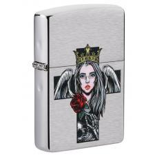 Зажигалка ZIPPO Cross Queen Skull Brushed Chrome 49262