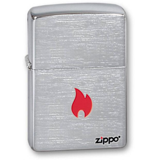 Зажигалка ZIPPO Flame Brushed Chrome