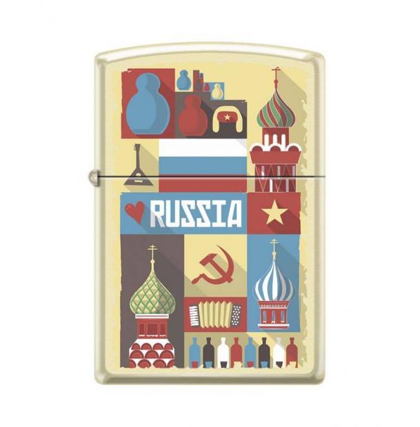 Зажигалка ZIPPO Открытка из России Cream Matte