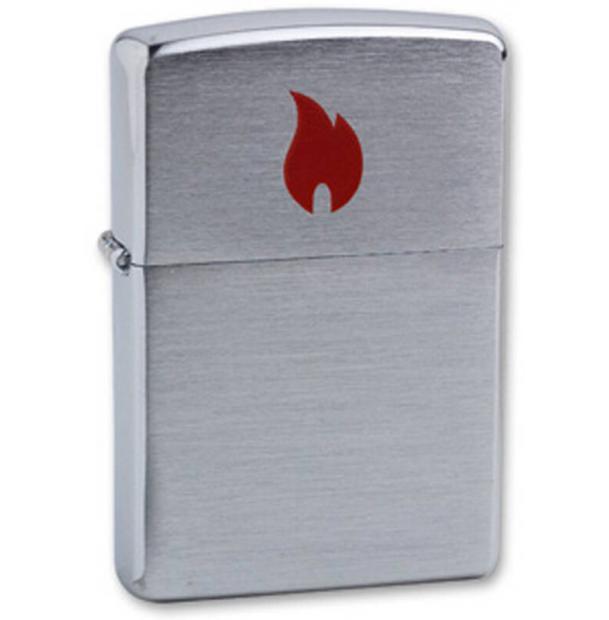 Зажигалка ZIPPO Red Flame Brushed Chrome