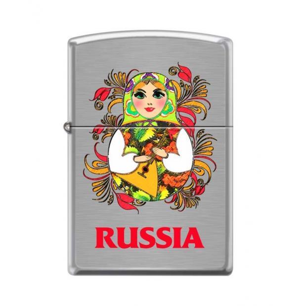 Зажигалка ZIPPO Русская Матрёшка Brushed Chrome