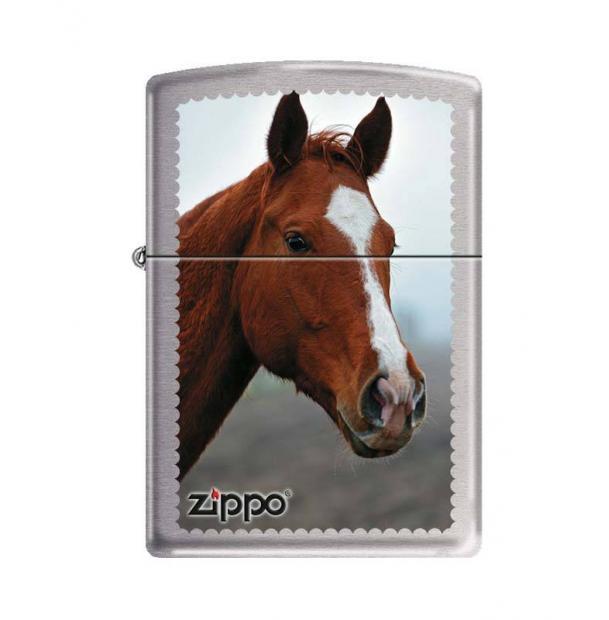 Зажигалка ZIPPO Рыжая лошадь Brushed Chrome