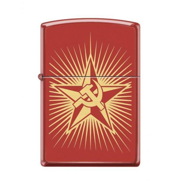 Зажигалка ZIPPO Серп и Молот и Звезда Red Matte