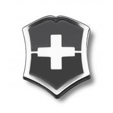 Значок VICTORINOX в форме креста на щите, металлический, чёрно-серебристый